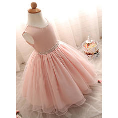 Tulle Scoop Neck Beading Baby Girl's Christening Gowns With Sleeveless (2001218002)