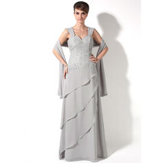 A-Line/Princess Chiffon Sleeveless Sweetheart Floor-Length Zipper Up Mother of the Bride Dresses