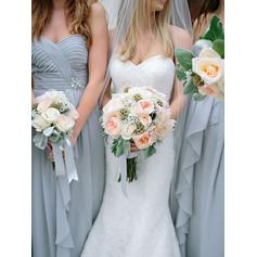 Vestidos princesa/ Formato A Longos Amada Sem magas Tecido de seda Vestidos de madrinha (007212242)