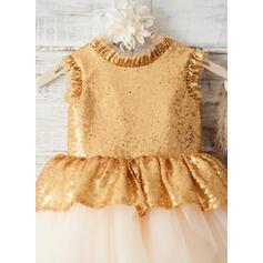 Forme Princesse Longueur genou Robes à Fleurs pour Filles - Tulle/Pailleté Sans manches Col rond avec À ruban(s)/V retour (010163906)