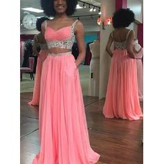 Chiffon Sleeveless A-Line/Princess Prom Dresses Sweetheart Lace Sweep Train