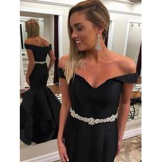 Trumpet/Mermaid Satin Prom Dresses Beading Off-the-Shoulder Sleeveless Floor-Length (018210255)