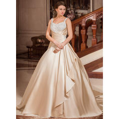 Sexy Court Train Ball-Gown Wedding Dresses Sweetheart Satin Sleeveless