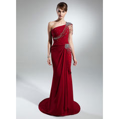 Trumpet/Mermaid One-Shoulder Chiffon Modern Mother of the Bride Dresses (008211394)