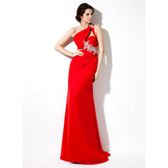 Chiffon Glamorous Evening Dresses With One-Shoulder (017002601)