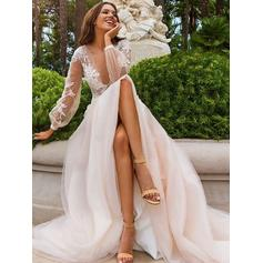 Luxurious Sweep Train A-Line/Princess Wedding Dresses Deep V Neck Tulle Long Sleeves