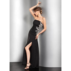 A-Line/Princess Strapless Floor-Length Evening Dresses With Ruffle Beading Appliques Lace Sequins Split Front (017014527)