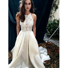 Satin Simple Wedding Dresses With A-Line/Princess Halter (002217953)