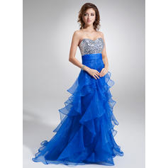 A-Line/Princess Sleeveless Cascading Ruffles Organza Sequined Prom Dresses (018004862)