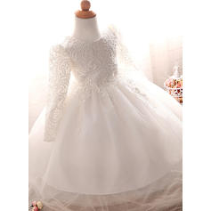 Tulle Scoop Neck Baby Girl's Christening Gowns With Long Sleeves (2001218013)