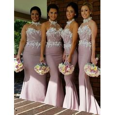Stretch Crepe Sleeveless Trumpet/Mermaid Bridesmaid Dresses Halter Sweep Train