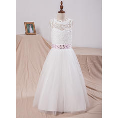 Scoop Neck A-Line/Princess Flower Girl Dresses Tulle/Lace Sash/Bow(s)/V Back Sleeveless Floor-length (010211658)