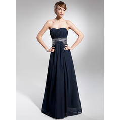 A-Line/Princess Sweetheart Floor-Length Evening Dresses With Ruffle Beading (017014676)