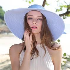 Damer' Gorgeous/Elegant Flätad Sugrör med Bowknot Diskett Hat