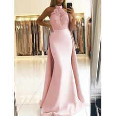 Fashion Jersey Evening Dresses Trumpet/Mermaid Sweep Train Halter Sleeveless