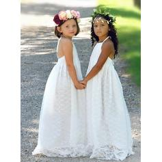 Chic Halter A-Line/Princess Flower Girl Dresses Sweep Train Lace Sleeveless (010146726)