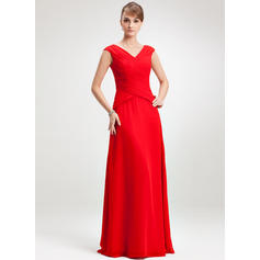 A-Line/Princess Chiffon Sleeveless V-neck Floor-Length Zipper Up Mother of the Bride Dresses