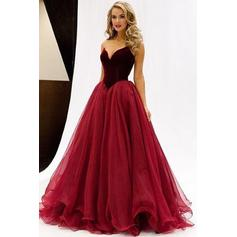 A-Line/Princess Floor-Length Prom Dresses Sweetheart Tulle Sleeveless