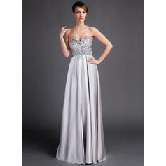 Empire Sweetheart Charmeuse Sleeveless Sweep Train Ruffle Beading Mother of the Bride Dresses