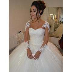 Ball-Gown Tulle Long Sleeves Scoop Court Train Wedding Dresses (002144908)
