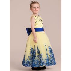 Forme Princesse Longueur cheville Robes à Fleurs pour Filles - Satiné/Tulle/Dentelle Sans manches Col rond avec Brodé/À ruban(s) (bande détachable) (010132397)