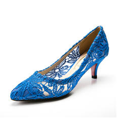Women's Closed Toe Pumps Low Heel Fabric Wedding Shoes