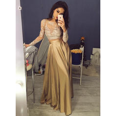A-Line/Princess Taffeta Prom Dresses Flattering Sweep Train Scoop Neck Long Sleeves