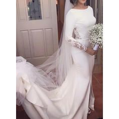 Trumpet/Mermaid Scoop Cathedral Train Wedding Dresses With Lace Split Front