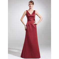 A-Line/Princess Satin Sleeveless V-neck Floor-Length Zipper Up at Side Mother of the Bride Dresses (008213144)