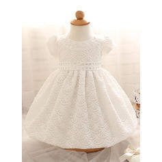 A-Line/Princess Scoop Neck Floor-length Satin Christening Gowns With Beading