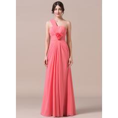 One-Shoulder Trumpet/Mermaid Chiffon Sleeveless Bridesmaid Dresses (007057701)