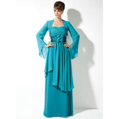 Empire Sweetheart Floor-Length Mother of the Bride Dresses With Flower(s) Cascading Ruffles (008005971)