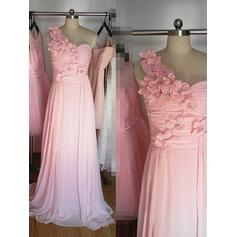Chiffon Sleeveless A-Line/Princess Bridesmaid Dresses One-Shoulder Beading Flower(s) Floor-Length