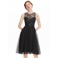 Tulle Bretelles classiques Forme Princesse Col rond Robes de soirée étudiante