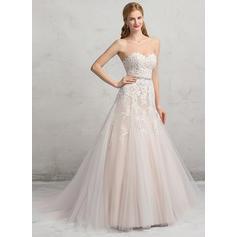 Tul Encaje Corte de baile Halagador Cuentas Lentejuelas Vestidos de novia (002083695)