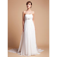 Beautiful Chiffon Strapless Sleeveless Wedding Dresses (002000563)