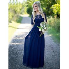 A-Line/Princess Chiffon Bridesmaid Dresses Ruffle Scoop Neck 1/2 Sleeves Floor-Length (007211571)