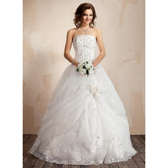 Chic Satin Organza Wedding Dresses With Ball-Gown Ruffle Lace Beading  Flower(s) (002021817)