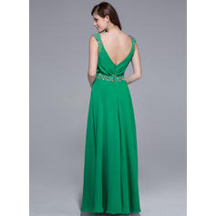 Hasta el suelo Gasa Corte A/Princesa Escote en V Vestidos de baile de promoción (018025510)
