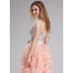 Organdí Delicado Corte A/Princesa Hasta el suelo Vestidos de baile de promoción (018025274)