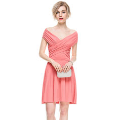 A-Line/Princess Off-the-Shoulder Short/Mini Jersey Cocktail Dress With Ruffle (016083906)