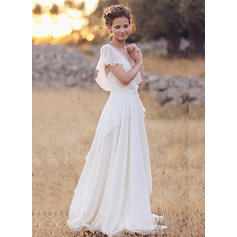 V-neck A-Line/Princess Wedding Dresses Chiffon Lace Bow(s) Cascading Ruffles Short Sleeves Floor-Length (002213453)