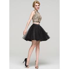 Charmeuse Tule Alças largas regulares Vestidos princesa/ Formato A Decote redondo Vestidos de boas vindas (022214112)