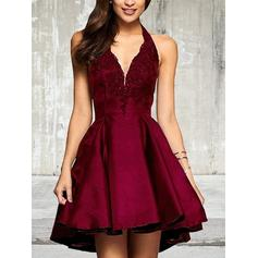 A-Line/Princess Asymmetrical Satin Halter Homecoming Dresses