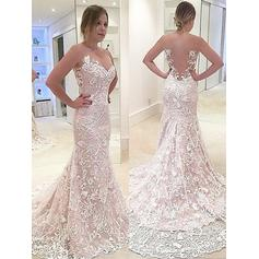 Chic Sweetheart Trumpet/Mermaid Wedding Dresses Sweep Train Lace Sleeveless