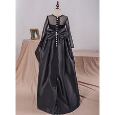Col rond Robe Marquise Robes de demoiselle d'honneur - fillette Taffeta/Tulle/Dentelle À ruban(s) Manches longues Longueur genou (010212165)