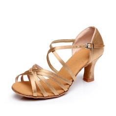 Women's Latin Heels Sandals Satin With Ankle Strap Dance Shoes