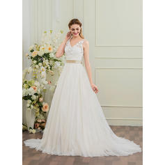 Ball-Gown Sweetheart Court Train Wedding Dresses With Flower(s) Bow(s)