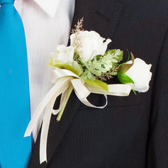 "Boutonniere/Men's Accessories Round Wedding/Party Artificial Silk 5.51""(Approx.14cm) Wedding Flowers"