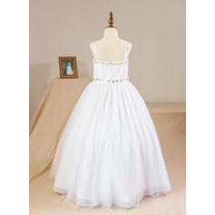 De baile Longos Vestidos de Menina das Flores - Tule Sem magas alças de ombro com Beading (Anágua não incluído) (010094151)